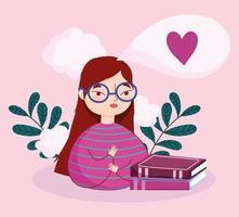 adolescente com livros e plantas