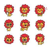 pequeno conjunto de mascote de personagem de filhote de leão vetor