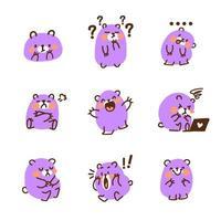 conjunto de mascote fofo urso roxo vetor