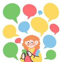 menina conversando nas mídias sociais vetor