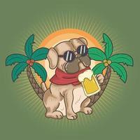cão pug bebe uma cerveja no verão