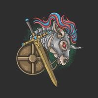 cavaleiro unicórnio com espada e escudo vetor