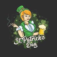 dia de são patrício senhora segurando cerveja vetor