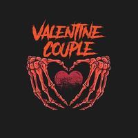 design de dia dos namorados com mãos de esqueleto segurando coração vetor
