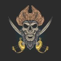 caveira pirata na frente de sabres cruzados vetor