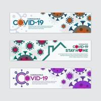 conjunto de banner de coronavírus covid-19 vetor