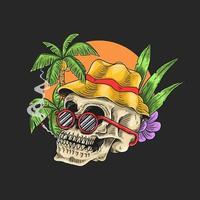 cabeça de crânio tropical frio vetor