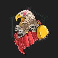 águia guardiã com colar de caveira vetor