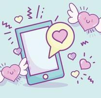 dia dos namorados smartphone com corações vetor