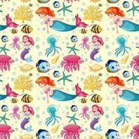 padrão de desenho de sereia e animais do mar vetor