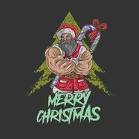 Papai Noel com grandes músculos vetor