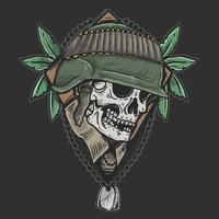 emblema do exército veterano do crânio vetor