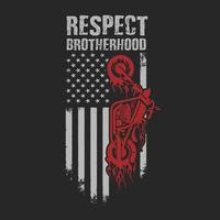 projeto americano do t-shirt da irmandade do respeito do motociclista vetor