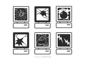 Ícones de tela quebrada de vetor livre