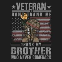 bota do exército veterano e design de t-shirt de citação