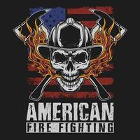 design de t-shirt de bombeiro americano vetor