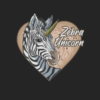 unicórnio zebra no coração estampado vetor