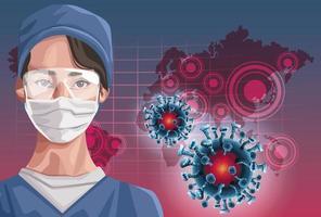 enfermeira usando máscara facial com continentes covid-19 vetor