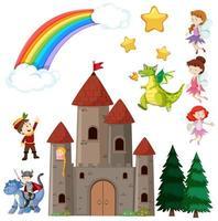 conjunto de castelo infantil de conto de fadas e dragão com arco-íris no céu vetor