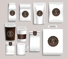 conjunto de produtos de embalagem de café branco