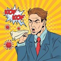 homem doente tossindo por doença covid-19