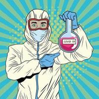 homem com roupa de biossegurança e teste de tubo covid-19