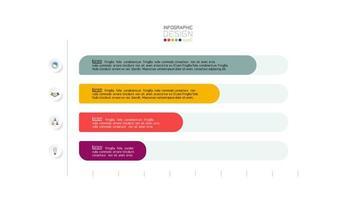 gráfico de infográfico de negócios horizontal colorido de 4 etapas
