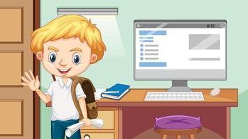 menino feliz ao lado da mesa de estudo vetor