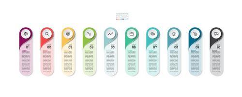 Infográfico de negócios moderno guia vertical arredondada de 10 etapas vetor