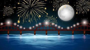 vista para o rio com fundo de fogos de artifício celebração vetor