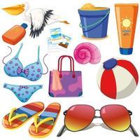 conjunto de objetos isolados tema férias de verão vetor