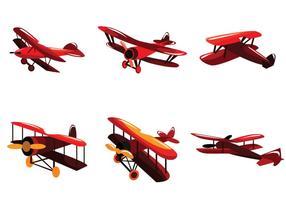 Vetor de biplano vermelho brilhante
