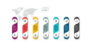 projeto colorido de infográfico de negócios de 7 etapas vetor