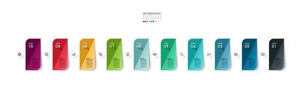 Projeto de infográfico de negócios retangular colorido de 10 etapas