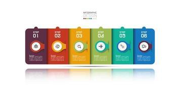 design de infográfico de negócios retangular moderno com seis etapas