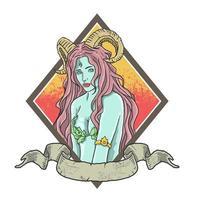 senhora bonita bruxa com banner vetor
