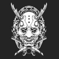 desenho de tatuagem de máscara de diabo vetor