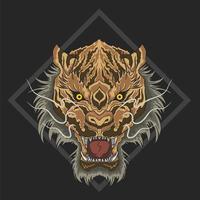 cabeça de tigre selvagem em diamante vetor