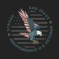 águia com padrão de bandeira americana vetor