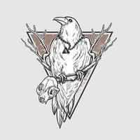 corvo do dia das bruxas com caveira animal vetor