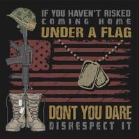 botas e dog tag bandeira e citação design