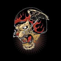 cabeça de tigre usando capacete com chamas e asas