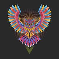 coruja ornamental colorida vetor