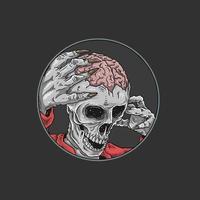 zumbi de halloween com o cérebro exposto vetor