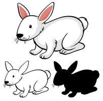 conjunto de desenhos animados de coelho vetor