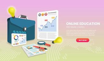 modelo de site de educação on-line com documento e maleta vetor