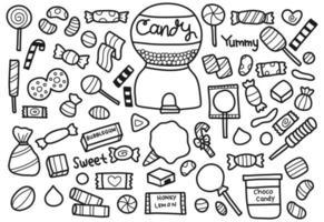 conjunto de doces doodle vetor