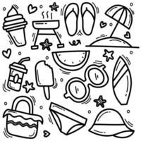 conjunto de doodle de verão vetor