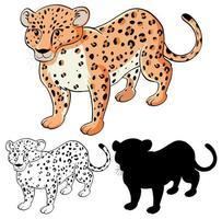 conjunto de desenho de leopardo vetor