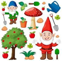 conjunto de gnomos e ícones de jardim vetor